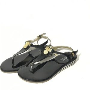 Michael Kors Mk Plate Flat Thong Sandals black 4